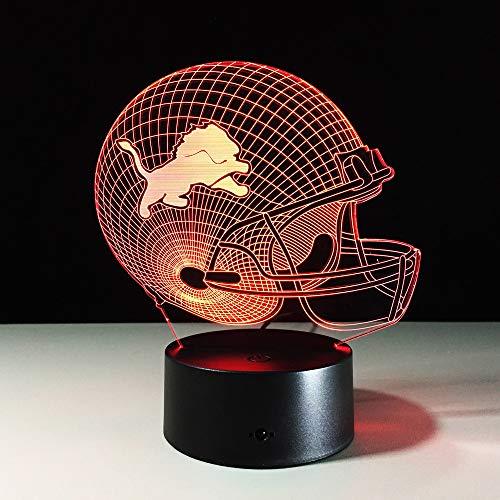 3D-lampen, optische illusies (voetbalkap), 7 kleuren, kleurverandering, voor een romantische sfeer in de kinderkamer, woonkamer, bar, café.