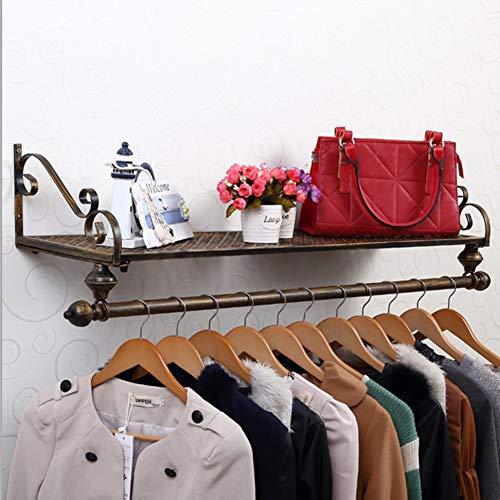 Wandbevestiging ijzer kapstok, Europese kledingrek met kledingstangen plank kledinghangers voor kleding sjaal Bag Ongeldig idee 80x28cm(31x11inch) A