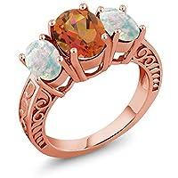 Gem Stone King 3.56カラット 天然 ミスティッククォーツ (トワイライトオレンジ) 指輪 リング レディース シミュレイテッド ホワイトオパール シルバー925 ピンクゴールドコーティング