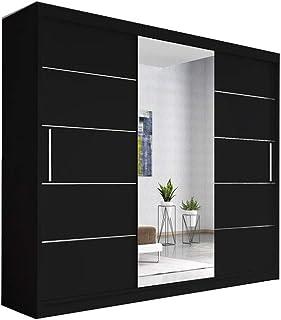 E-MEUBLES Armoire, Penderie avec 3 Portes coulissantes (L x H x P): 250x218x61 Elba (Noir+ Noir+ Miroir)