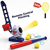 iPlay, iLearn 2 in 1 Baseball & Tennis Pitching Machine, Remote Control Bat, Automatic Pitcher, Active Training Toys Set, Outdoor Sport Games, Gifts for 5, 6, 7 Year Olds Kids, Boys, Girls