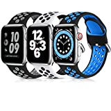 Lerobo 3 Pack Compatible for Apple Watch Band 44mm 42mm 40mm 38mm, Soft Silicone Sport Strap Breathable Replacement Bands for Apple Watch SE Series 6, Series 5, Series 3 4 2 1 Men Women, 42mm/44mm-M/L