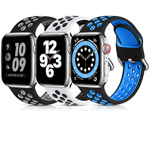 Lerobo 3 Pack Compatible for Apple Watch Bands 40mm 38mm 44mm 42mm, Soft Silicone Sport Strap Breathable Replacement Band for Apple Watch SE iWatch Series 6, Series 5 4 3 2 1 Women Men, 38mm/40mm-M/L