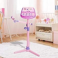 HANMUN Kids Karaoke Machine Microphone Stand (Pink)