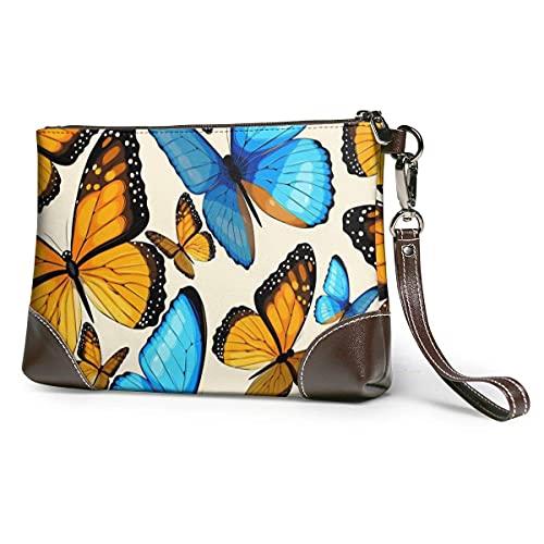 Hdadwy Mariposas tropicales azules mujeres portátil suave cuero genuino embrague pulsera pequeña bolsa clásica cartera grande