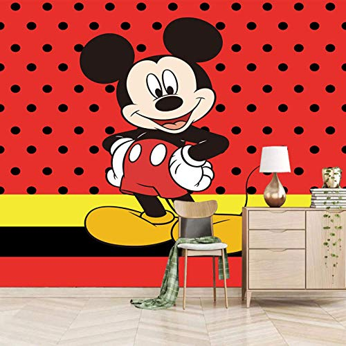 SJKstore Papel pintado mural 3D Rojo, dibujos animados, animal, ratón 300x210CM Calcomanías de pared decorativas, calcomanías artísticas, calcomanías murales removibles, calcomanías de pared para bric