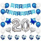 Liitata Globos de plata y azul para decoración de 20 cumpleaños, globos de plata con forma de corazón, globos de helio, confeti, globos para niñas y niños