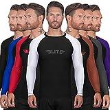 Elite Sports BJJ Jiu Jitsu Rash Guard, Men's BJJ, No GI, MMA Ranked Full Sleeve Compression Rash Guards (White, X-Small)