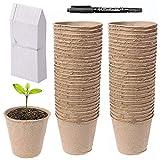 Abimars 50 Pz 8 cm Vasi per Semi in Fibra Biodegradabile, con 50 Etichette in Plastica, 1 x 10 cm Penna per Etichette per Piante