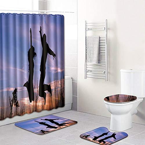 Mgwa rutschfeste matte Sonnenuntergang Silhouette Muster Duschvorhang Bodenmatte Badezimmer Toilettensitz Vierteiliger Teppich Wasseraufnahme Verblasst Nicht Vielseitig Komfortable Badezimmermatte Kan
