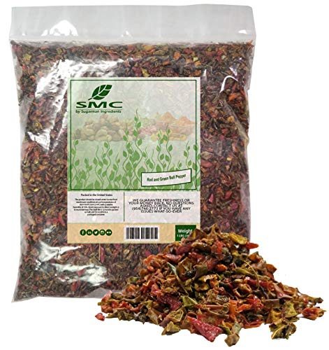 Red & Green BELL Peppers 1 Pound Bulk Bag-Heat Sealed to Maintain Freshness-Crushed & Dried Spice Seasoning