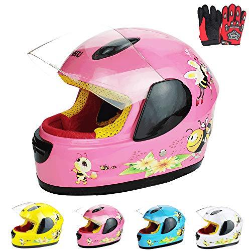 ZJRA Boys & Girls Kinder Motorrad-Sturzhelm Für Kinder, Fahrrad, Full Face Fahrradhelm, Moped, Roller, Sport, Geeignet Für Unter 10 Jahre Alt, 52Cm,Rosa