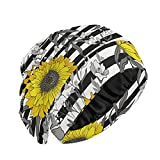 UNISE Sunflowers On Ribbon Background Satin Lined Sleep Cap Slouchy Sleeping Beanie Slap Hat Hair Cover Bonnet Stay All Night for Women