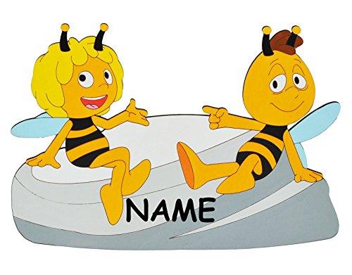 alles-meine.de GmbH die Biene Maja und Willi  - XL - Türschild / Wandtattoo / Wandbild - incl. Name - aus Holz - selbstklebend - Wanddeko Deko Bilder / Kinderzimmer / Aufklebe..