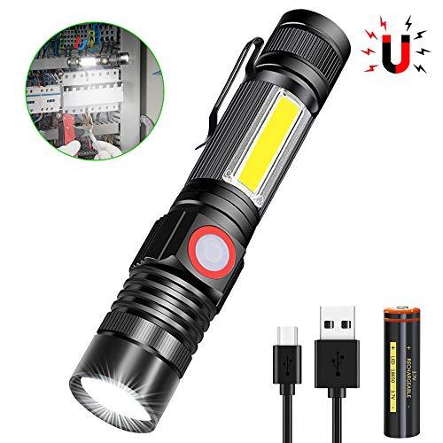 Taschenlampe LED Aufladbar, Magnet USB Taschenlampen, Banral COB Arbeitsleuchte Zoom Extrem Hell Wasserdicht Taktische Taschenlampe Mit 4 Modi, für Outdoor Camping Notfall (Inklusive Akku) (1)