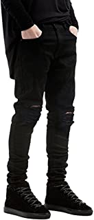Men's Slim Fit Black Stretch Destroyed Ripped Skinny Denim Jeans