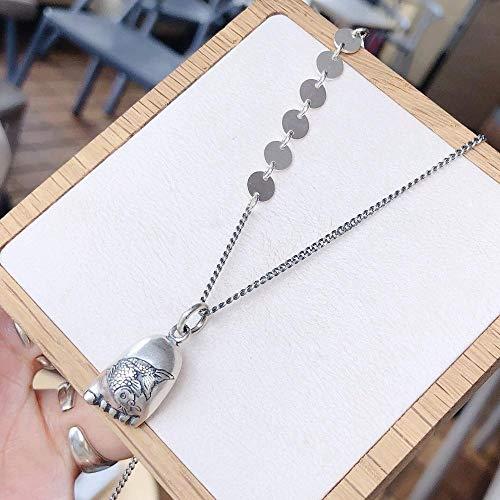 TAOYUN Frauen Halskette Sterling Silber Mädchen Damen Hängend Deko Disc Fußsohle Fisch Anhänger Pullover Kette Mode Dekoration Hypoallergenen Schmuck