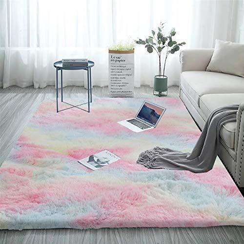 Blivener Alfombra suave al tacto para dormitorio, antideslizante, para yoga, peludo, moño, moño, moño, moño, moqueta de color arcoíris 120 x 200 cm