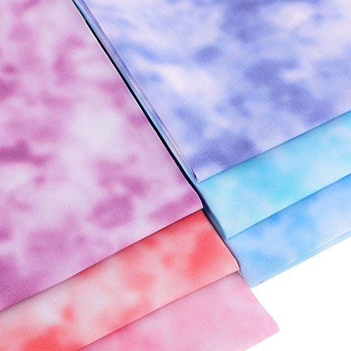 6 Pieces 18 x 18 Inch/ 45 x 45 cm Fat Quarter Cotton Poplin Fabric Tie Dye Cotton Fabric Quilting Fabric for Dressmaking Shirts Clothes Sewing Patchwork DIY Craft (Chic Colors)