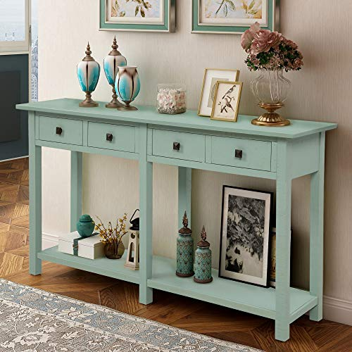Retro Console Table Sofa Table for Entryway with Drawers and Shelf Living Room Sideboard (Tiffany Blue)