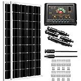 SUNGOLDPOWER 200 Watt 12V Monocrystalline Solar Panel Module Kit:2pcs 100W Mono Solar Panel Solar Cell Grade A +20A LCD PWM...