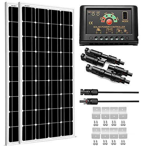 SUNGOLDPOWER 200 Watt 12V Monocrystalline Solar Panel Module Kit:2pcs 100W Mono Solar Panel Solar Cell Grade A +20A LCD PWM Charge Controller Solar+Solar Panel Connector Extension Cables+2 Sets of Z-B