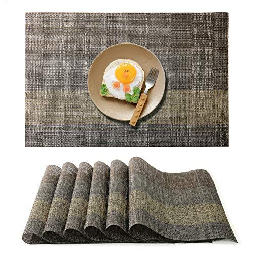 Raniaco Platzdeckchen Tischset Abwaschbar Platzset - 6er Pack, rutschfest Abwischbar Kunststoff Tischsets 45 cm x 30 cm, Schwarz Platzsets (Grau, 6 Pack)