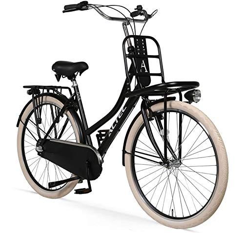Hooptec Damenrad Love 28 Zoll Transportfahrrad 53 cm Schwarz-Matt 3 Gang