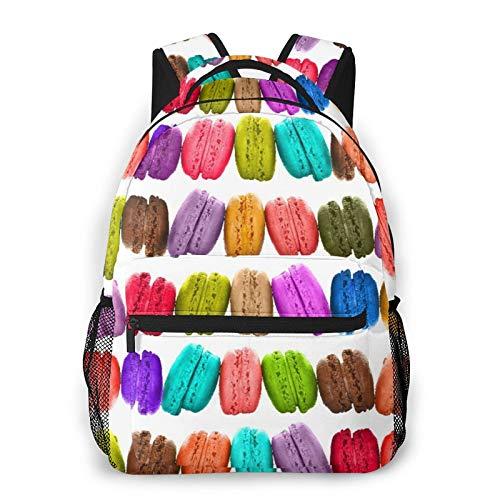 MEJX Mochila Paquete de Almacenamiento,Macarons coloridos aislados en blanco,Casual Bolsa de Estudiantes de la Escuela Mochila Portátil de Viaje