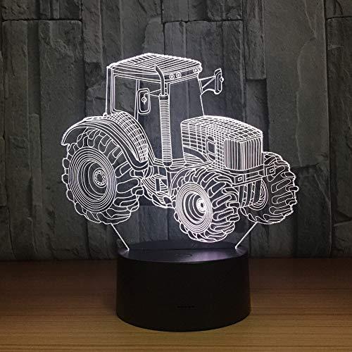 BFMBCHDJ Ackerschlepper 3D LED Lampe Deko Licht Automobil Form USB Ladung Touch Schalter Lampe 7 Bunte Kinder Nachtlicht Für Neujahrsgeschenk