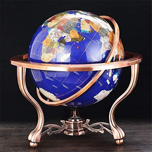 WOHAO Globus Globe-Edelstein-Weltkarte Globe Stand Globes Welttischdekoration Kid pädagogisches Spielzeug Rotating Schreibtisch Globe for Kinder, Lehrer ect (Farbe: Blau, Größe: 15 cm)