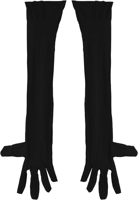 YONGHS Men See Through Mesh Elbow Length Full Finger Long Gloves Stockings Mittens Clubwear