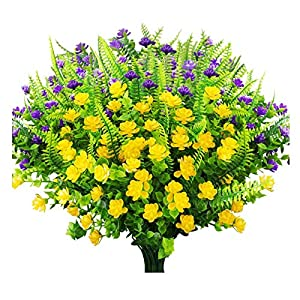 Artificial Flowers Outdoor Fake Plants UV Resistant Faux Plastic Flowers Garden No Fade Faux Daffodils Shrubs Home Garden Porch Patio Decoration Office Indoor-12Pcs