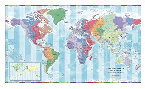 "Time Zone Wall Map of The World - Large - 56.25"" x 34.75"" Paper"