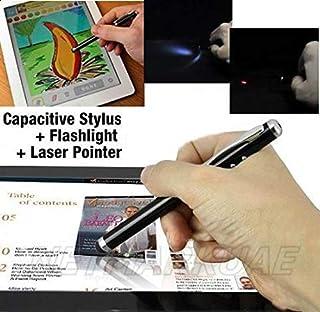 قلم شاشة عرض Capactive مع مصباح LED مؤشر ليزر لجهاز iPad 2, 3 iPhone 4, 4S Samsung Galaxy Tab 10. 1, 7. 7 Nexus Note S2 i9...