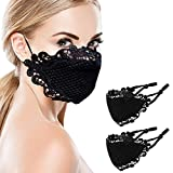 Masquerade Black Lace-Masks for Women - Fashion Face Scarf Mouth Fabric Reusable Washable Cloth (Black-2) (Black-2)