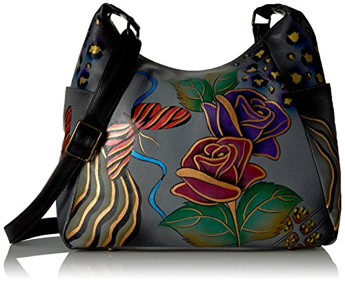 Anna by Anuschka Damen, Handpainted Leather Large Multi Pocket Grey Hobo Handtasche | Echtes Leder, Rose Safari Grau, 39.5 EU