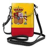 Bolso bandolera para mujer, diseño de bandera de España, bolso pequeño para teléfono celular, correa de piel ligera para mujeres y niñas