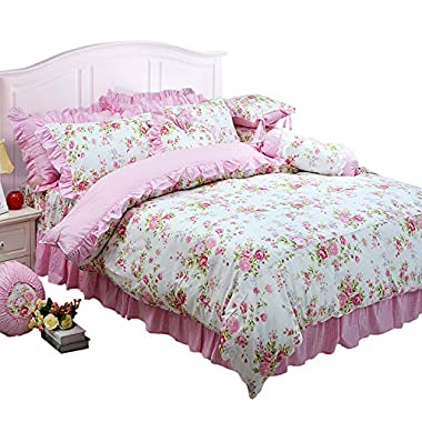 FADFAY Shabby Pink Duvet Cover Set Rose Floral Bedding Collection Elegant Princess Lace Ruffle Quilt Cover Set for Girls…