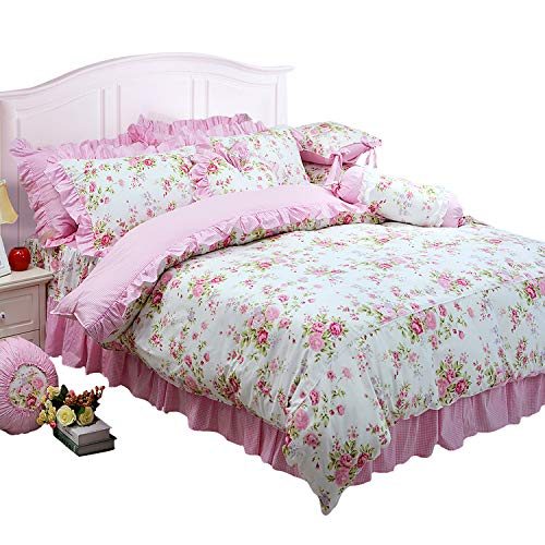 FADFAY Shabby Pink Duvet Cover Set Rose Floral Bedding Collection Elegant Princess Lace Ruffle Quilt Cover Set for Girls 4 Pieces Twin Size