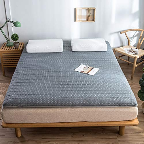 yangdan Colchón de futón japonés plegable de látex natural, almohadilla de protección Tatami para el piso del hogar (color: gris, tamaño: 180 x 200 cm)