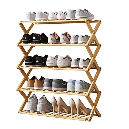LYLY Zapatero 5 Niveles Plegables Zapatos de bambú Estante Libre instalación Simple casa Zapato Estante Almacenamiento Estante para estantería para Pasillo de Entrada Estante de Zapatos