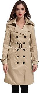 EORISH Women's British Style Elegant Jacket Double Breasted Slim Long Trench Coat