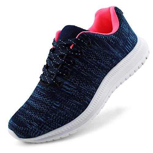JABASIC Women Lightweight Knit Running Shoes Athletic Walking Sneakers (10M,Navy)