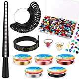 Gikasa Ring Making Kit,Ring Size Measuring Tools with Ring Mandrel, Ring Sizer Gauge, Finger Size Gauge, Jewelry Wire and Crystal Stone Beads for Jewelry Making