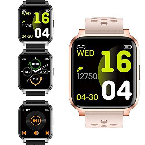Smartwatch Fitness Tracker Reloj de pulsera con pantalla táctil completa con monitor de ritmo cardíaco, monitor de sueño, control de música, podómetro para Android e iOS-4