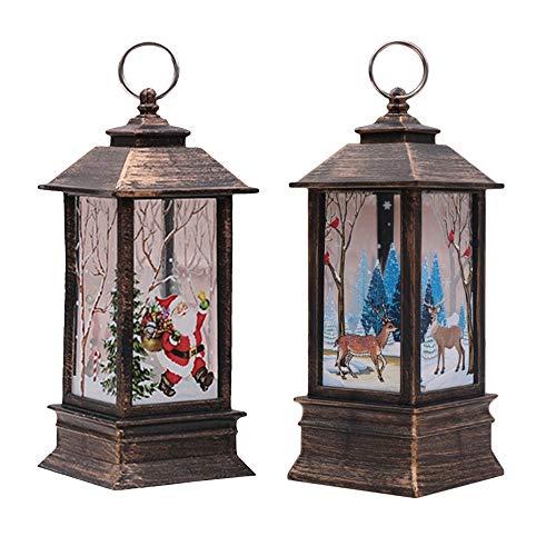 Weihnachtsdekorationen Verkaufsräumung, Weihnachtsdekorationen Lichter Weihnachtsmann und Elch Licht mit LED Teelicht Lampion Flamme Lampe feuerlose Kerzen Lampe für Weihnachten Party Dekor