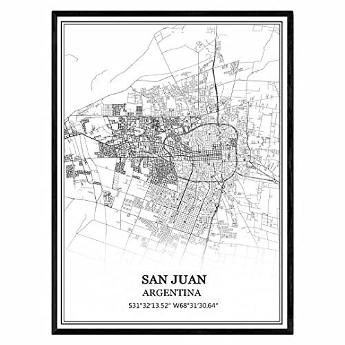 San Juan Argentina Mapa de pared arte lienzo impresión cartel obra de arte sin marco moderno mapa en blanco y negro recuerdo regalo decoración del hogar