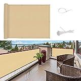 SUNNY GUARD Copertura per Balcone Giardino Schermo Privacy Resistente ai Raggi UV PES Telo frangivento Impermeabile con Fascette,90x500cm Sabbia