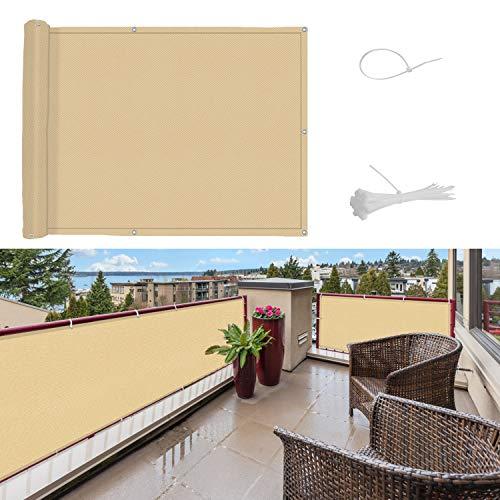 SUNNY GUARD Pantalla para Balcón Jardín Protección de Privacidad PES Resistente a los Rayos UV Protección contra el Viento, con Ataduras de Cables, 75x400cm Arena